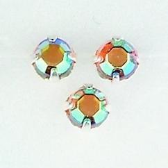 107005/0055- 28 stuks glazen rijg/naai strass steentjes 5mm rond kristal topaz AB
