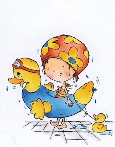 CE180016/3348- Marianne Design clearstamp Don & Daisy swimming Daisy - DDS3348