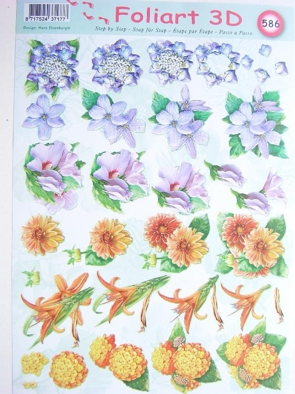 kn/452- A4 knipvel AANBIEDING foli art no.586 bloemen