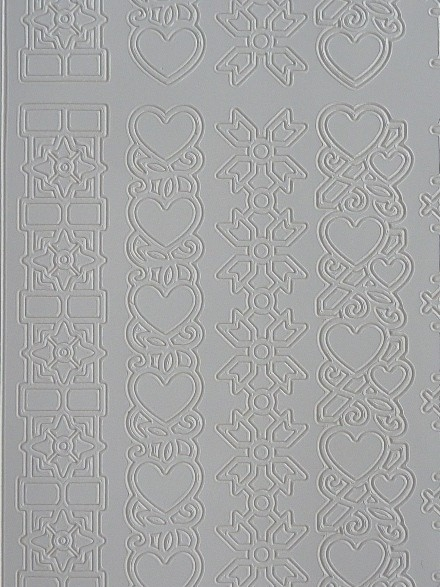st979- stickervel met hartjes randjes van ca.1.5cm breed 10x23cm wit