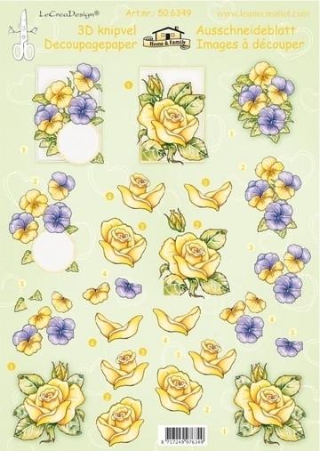 kn/2020- A4 3D knipvel Leane bloemen rozen & violen - 117141/7385