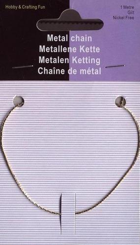 117453/4002- 1 meter ketting/jasseron 0.6x0.8mm goudkleur