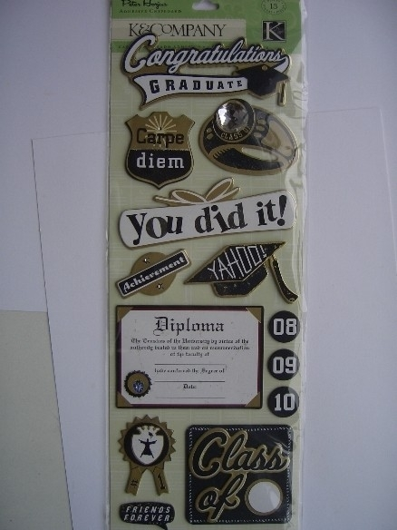 5563- K&Co 3D stickers chipboard graduation 30x12cm