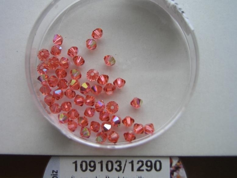 109103/1290- 50 x swarovski kralen 3mm padparadscha rood AB