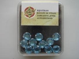 107005/0009- 28 stuks glazen rijg/naai strass steentjes 5mm rond kristal aqua