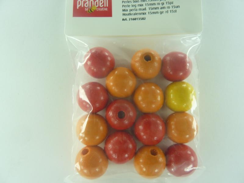 6113 502 - 15 x houten kralen mix rood/oranje/geel van 15 mm.