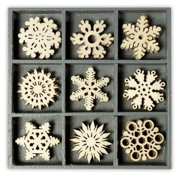 1852 1023- box met 45 stuks houten ornamentjes kristal 10.5x10.5cm