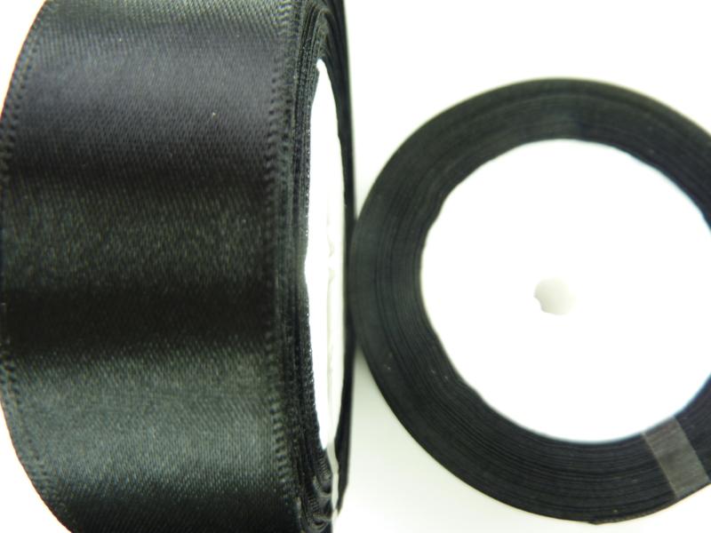 rol met 22.86 meter zwart satijnlint van 25mm breed - SUPERLAGE PRIJS!