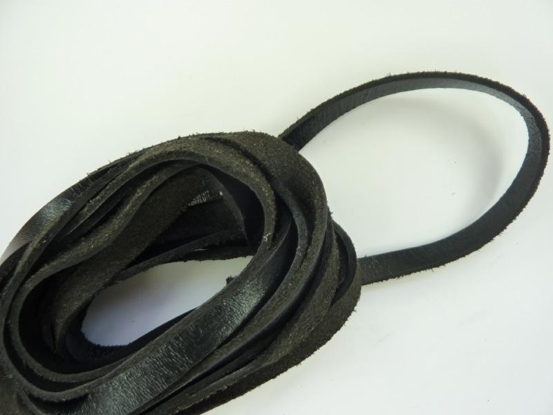 3 meter echt leren platte veter zwart van 8mm breed - AA kwaliteit - SUPERLAGE PRIJS!