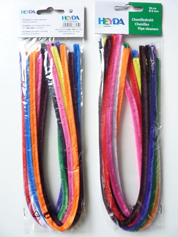 10 stuks chenille draad van 50cm lang en 8mm breed kleurenmix