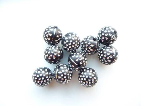3983- 10 stuks strassballen 11mm zwart met zilver - EXTRA LAGE PRIJS