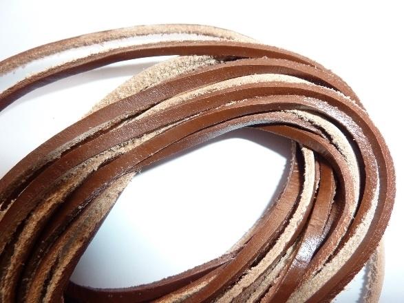 5 meter echt leren platte veter l.bruin van 3mm breed  - SUPERLAGE PRIJS!
