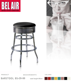 Bel Air BS-29 Fifties kruk Zwart