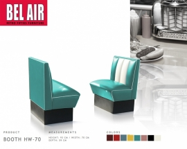 Retro Diner single booth Bel Air HW-70 - TURQUOISE