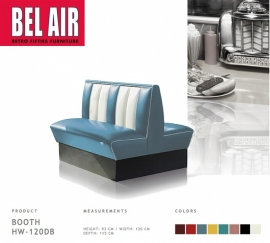 Bel Air HW-120DB - Double retro Diner booth / Vintage Blue