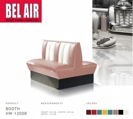 Bel Air HW-120DB - Double retro Diner booth / DUSTY ROSE