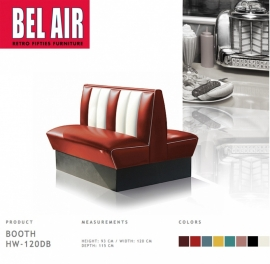 Bel Air Double Diner booth 50ies HW -120DB, RUBY