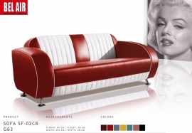 50ies retro zitbank - sofa - 3 zitter / Rood