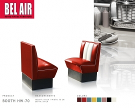 Bel Air HW-70 retro 50's diner booth - Red