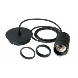 Pendel 1 lichts 200cm zwart/zwart E27