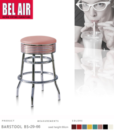 Bel Air BS-29 Fifties kruk Roze