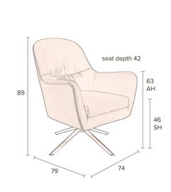 Robusto Lounge Chair Dutchbone Tartan Texas Multi Color