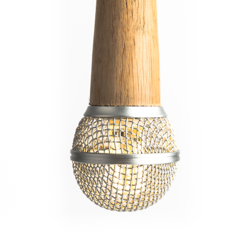 Microphone Hanglamp Shure SM58 Wooden Silver