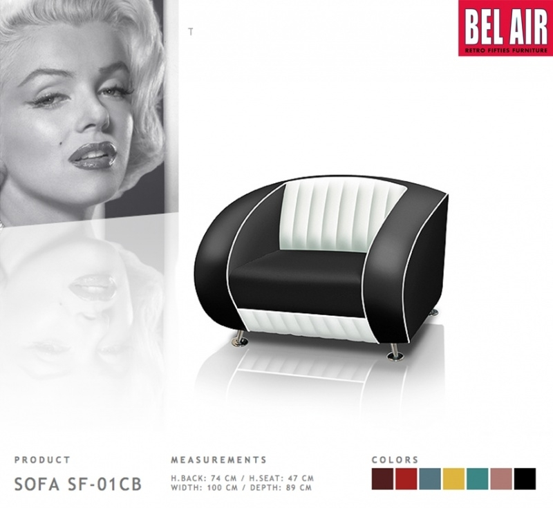 BEL AIR retro furniture SF-01-CB - Black