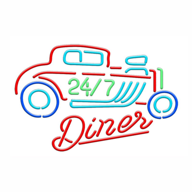 24-7 Diner Neon Ford Hot Rod