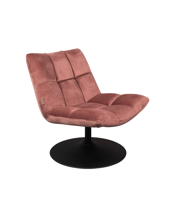 Bar Lounge Chair Velvet Old Pink