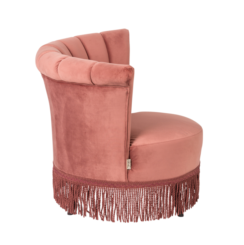 Flair classic lounge chair roze fluweel