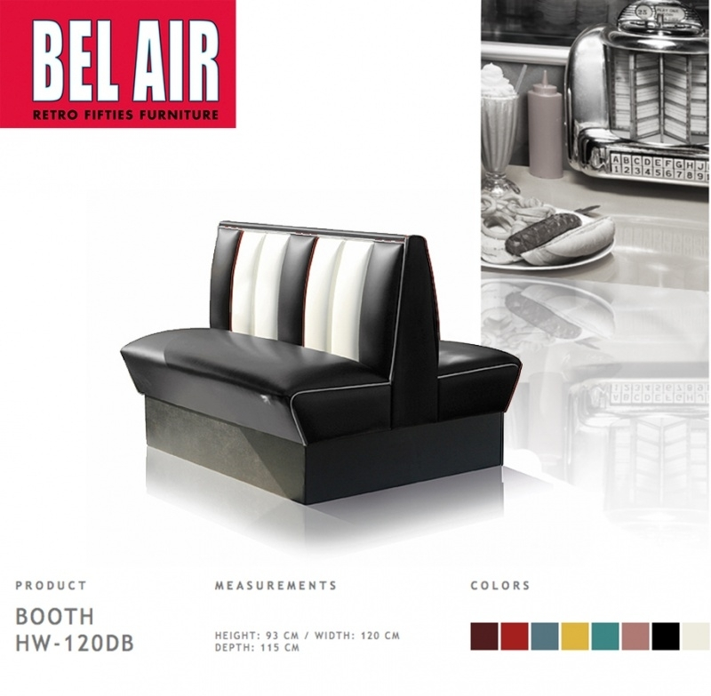 Bel Air Double Diner 50'ies furniture  HW-120DB BLACK
