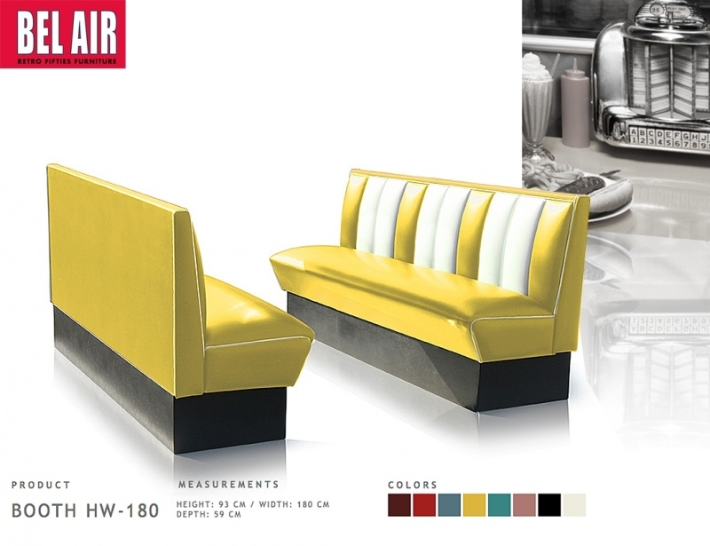Bel Air retro furniture Diner booth HW-180 fifties, Yellow