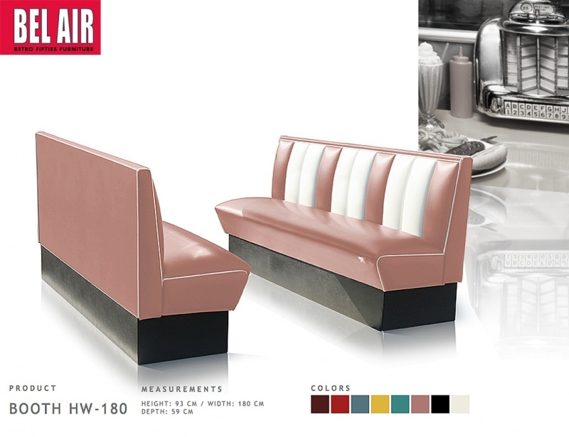 Bel Air retro furniture Diner booth HW-180 fifties, Dusty rose