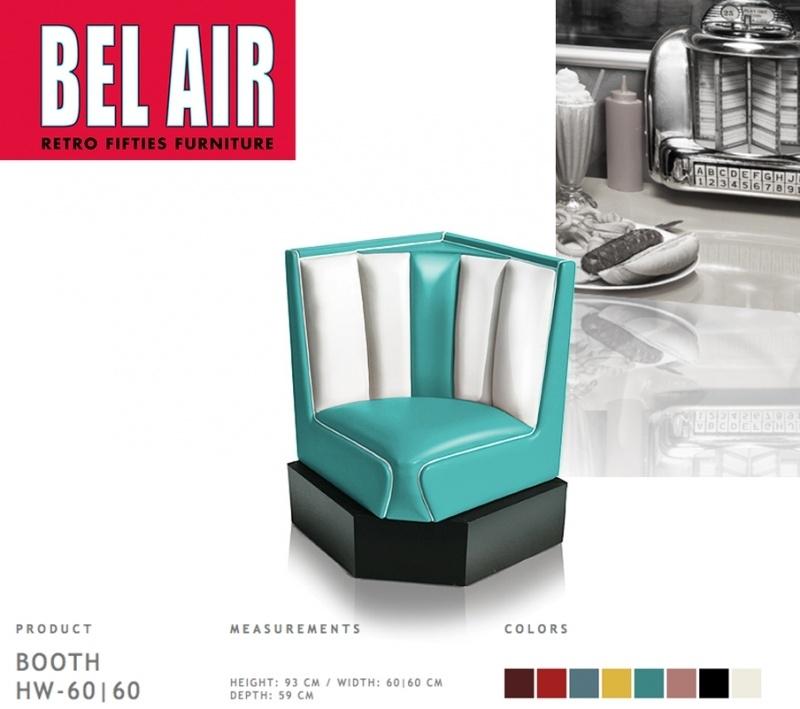 Bel Air 50ies diner corner booth / TURQUOISE