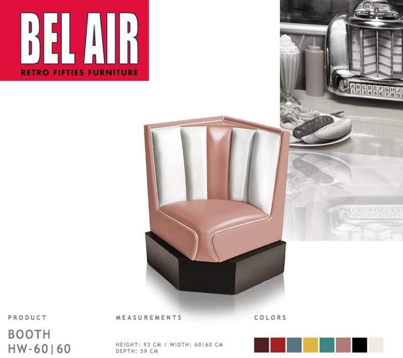 Bel Air 50ies diner corner booth / DUSTY ROSE