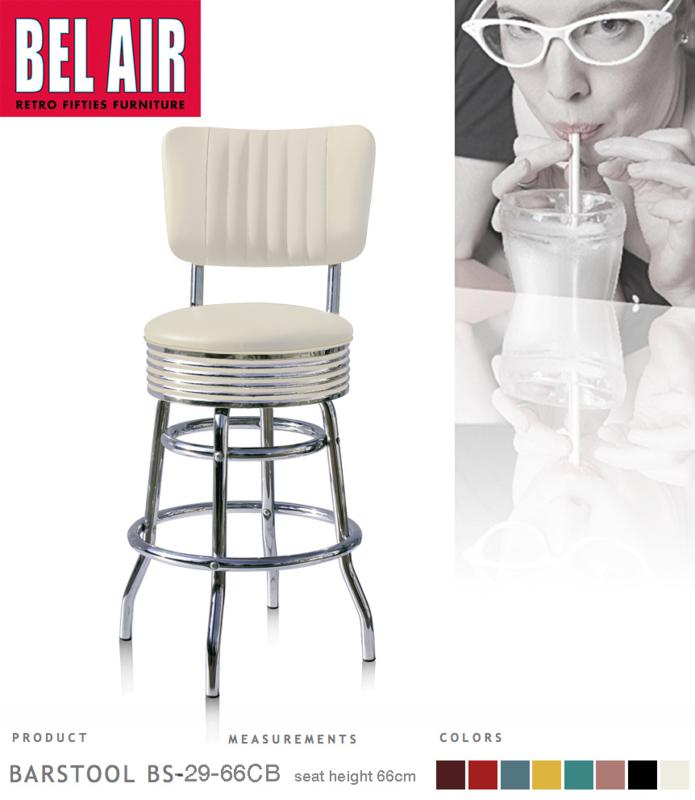 Bel Air BS-29-CB66 Fifties kruk vintage wit