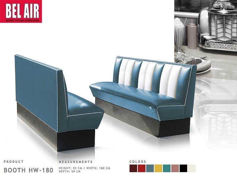 Bel Air retro furniture Diner booth HW-180 50's, Vintage blue