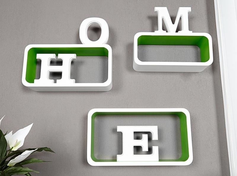 Retro lounge cube - wandplank wit-groen