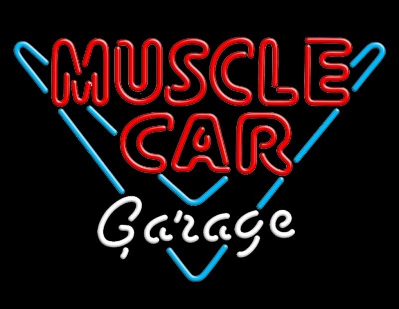 Neon verlichting Garage Muscle Car