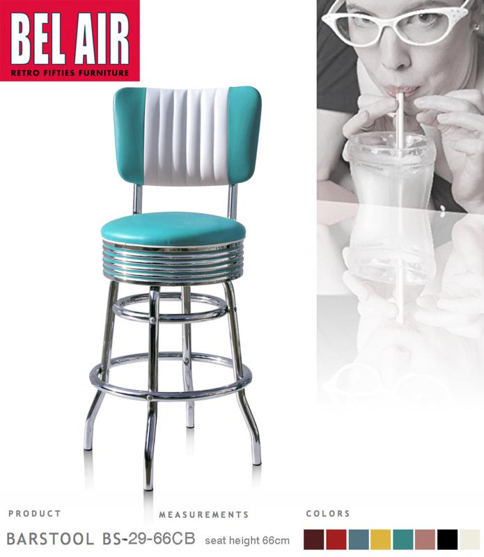 Bel Air BS-29-CB66 Fifties kruk Turquoise