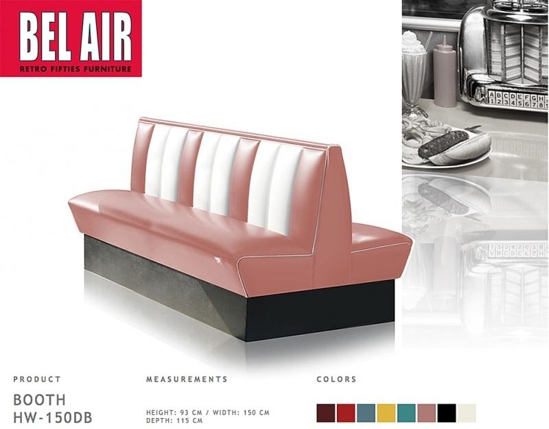 Bel Air HW-150 retro diner booth, Dusty Rose