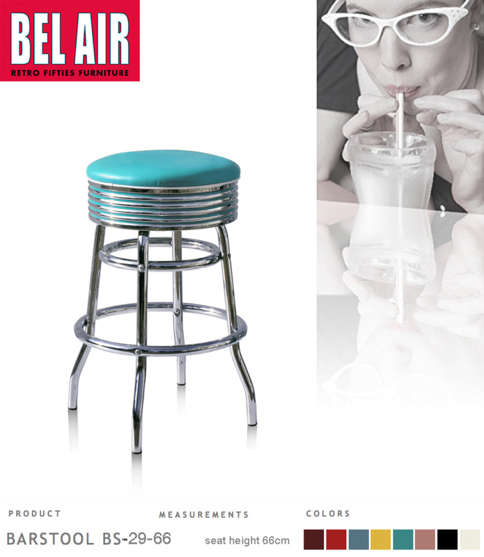 Bel Air BS-29 Fifties kruk Turquoise
