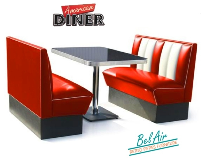 BELAIR retro fifties diner booth HW 120 ruby