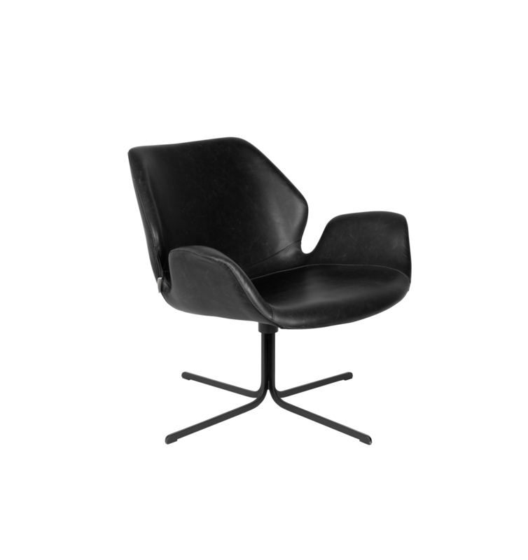 Nikki black lounge fauteuil