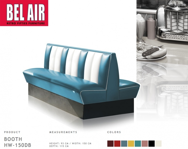 Bel Air HW-150DB diner retro booth, Vintage Blue