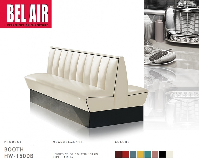 Bel Air HW-150 retro 50ies diner booth, Off white, black striping