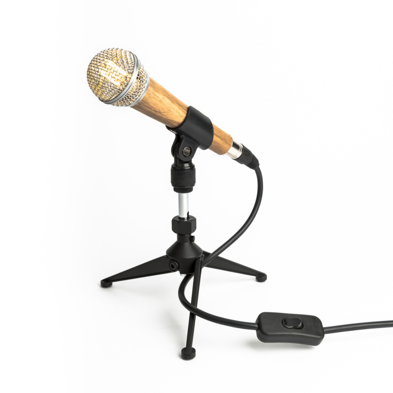 Microphone Tafellamp Shure SM58 Wooden Silver