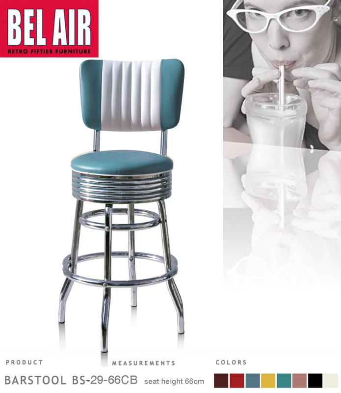 Bel Air BS-29-CB66 Fifties kruk vintage blauw