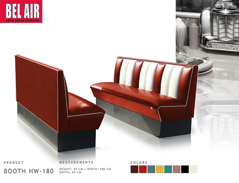 Bel Air retro furniture Diner booth HW-180 fifties, Ruby